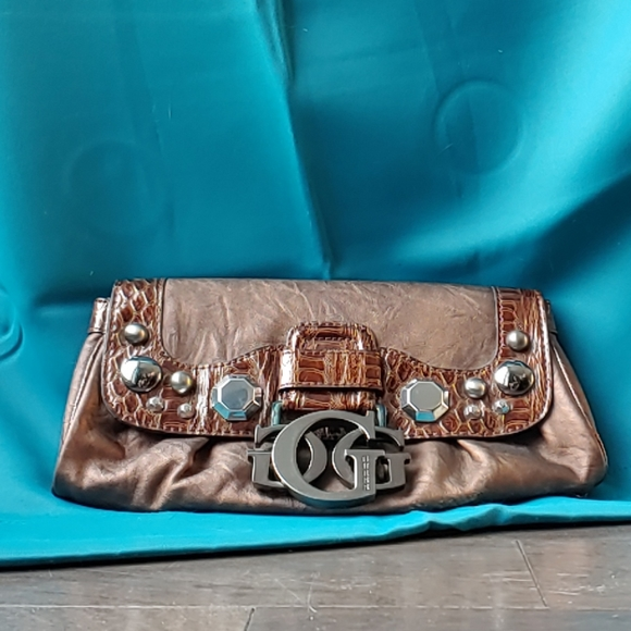 Guess Handbags - Guess Burnished Bronze Bejeweled Clutch